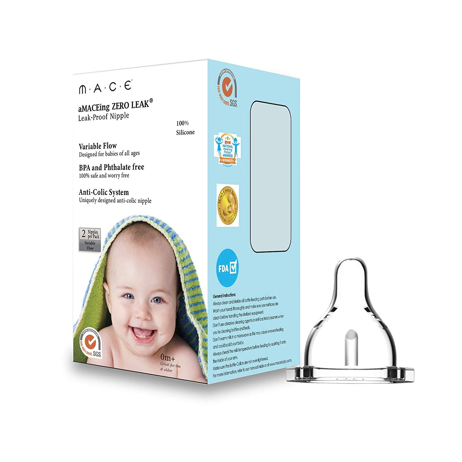 Made in USA aMACEing Zero Leak Nipple with Anti-Colic Vent and Variable Flow (2 Pack)