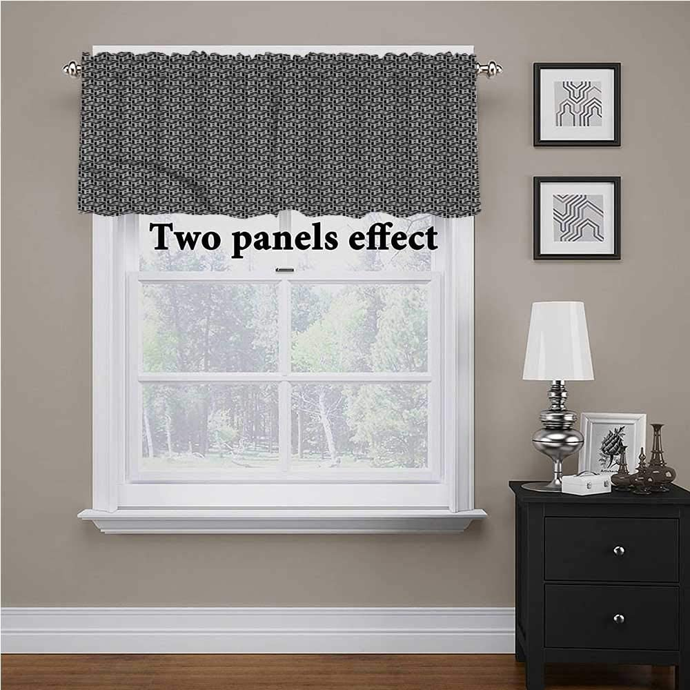 shirlyhome Black and White Bedroom Valances for Windows Cubical Forms for Kids Room/Baby Nursery/Dormitory, 56 Inch by 16 Inch 1 Panel