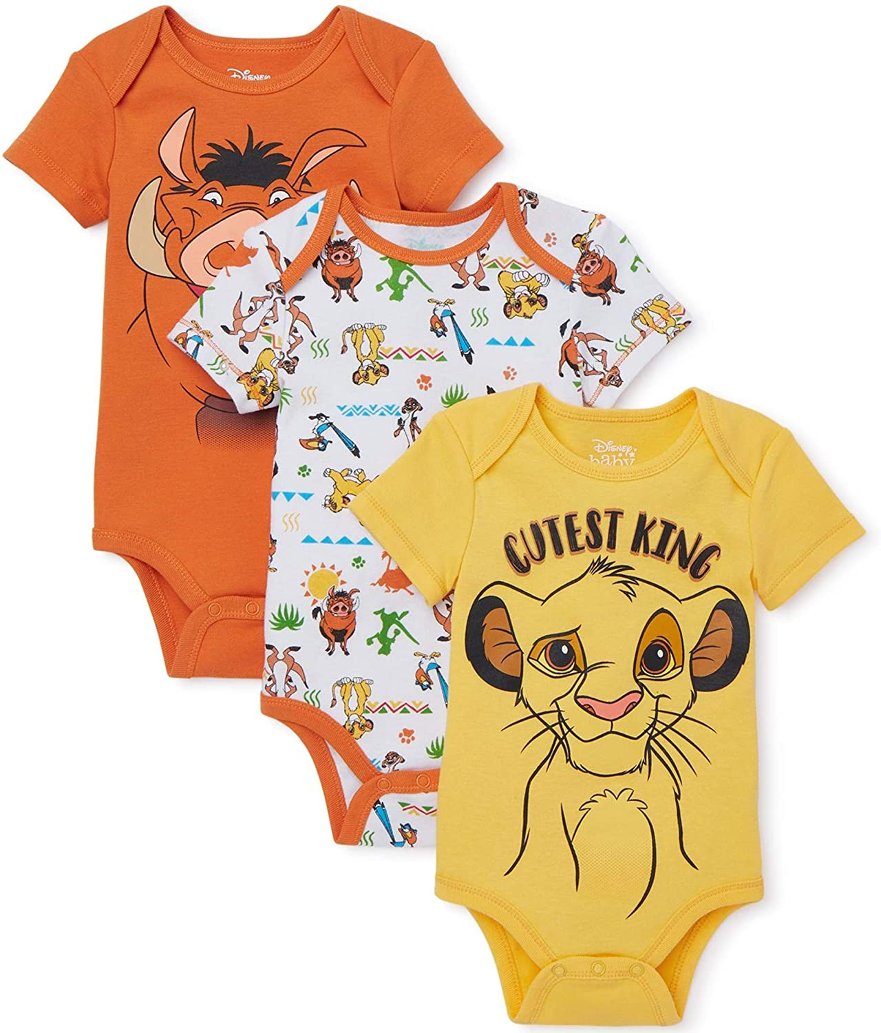 The Lion King 3-Pack Creeper Bodysuit Cutest King Set for Babies