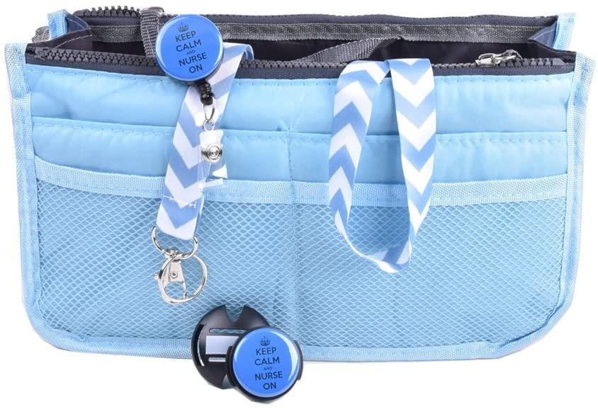Sizzle City Nurse Badge Holder, Nurse Badge Reel, Retractable Badge Clip, Handbag Organizer, Stethoscope Name tag (Nurse Gift Set_Blue)
