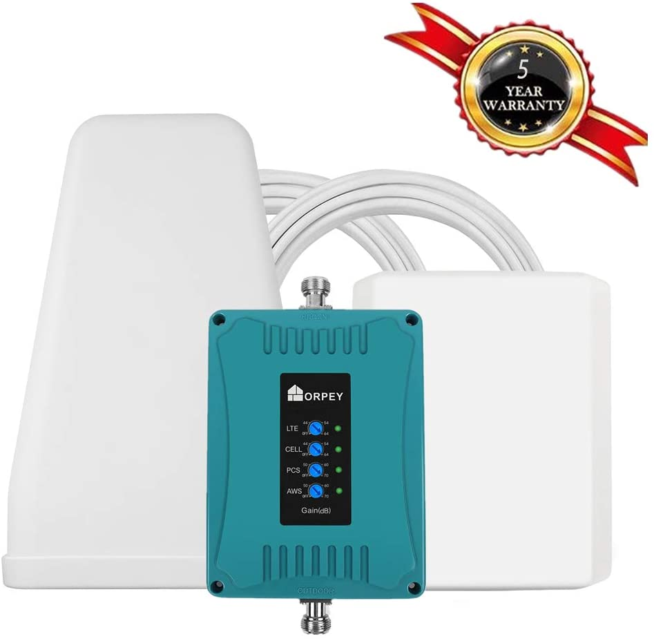 Cell Phone Signal Booster for Home and Office - Supports All US Carriers - Improves GSM 3G and 4G LTE Data and Voice Signal for Verizon, AT&T, T-Mobile, Sprint - Cover Up to 5,500 sq ft