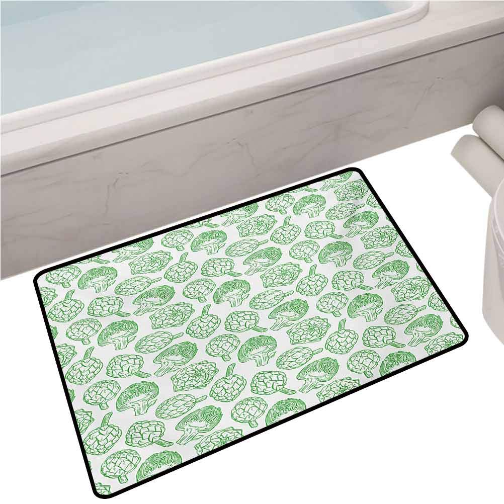 Bedroom Hallway Anti-Slip Mat Vegetables Hand Drawn Cooking Ingredients Healthy Foods Vegan Way Go Green,35