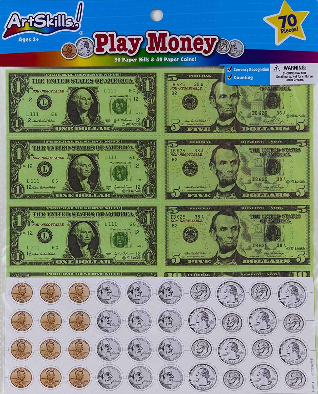 Art Skills - Play Money - 70 Piece Set