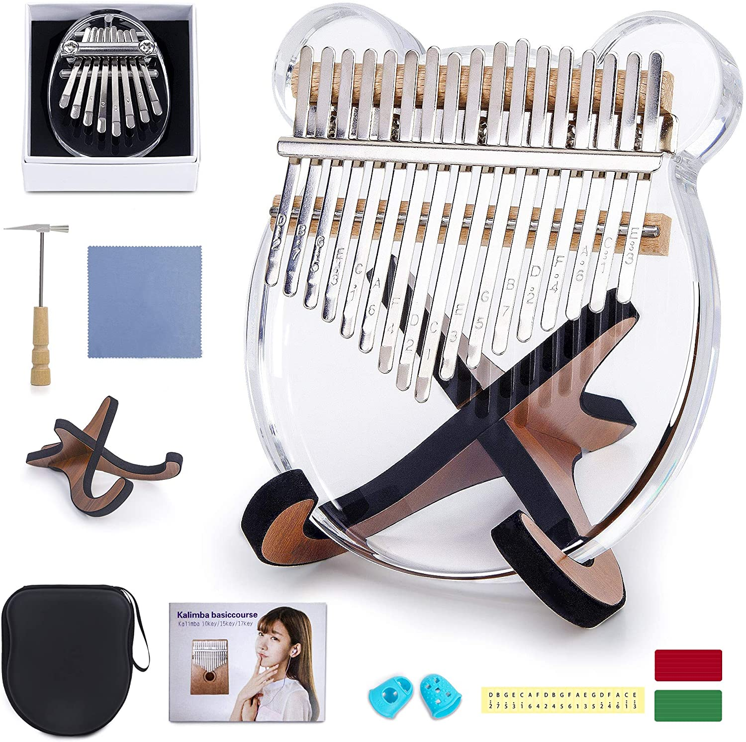 2 Pack Kalimba Thumb Piano, Parent-Child Outfit Easy to Learn Mbira Acrylic Finger Piano, with Portable EVA Hard Protective Case, Study Instruction, and Tune Hammer for Kids Adult Beginners(White)