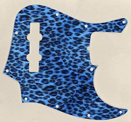 Custom Graphical Pickguard to fit Fender J Bass Jazz Bass Leopard print Blue