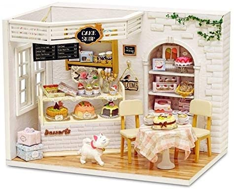 ZRSJ Creative Gift Doll House, Assembled DIY Baby Doll House, Wooden Miniature Led Lights Girl Toys for Princess Surprise Gift Classic Maze
