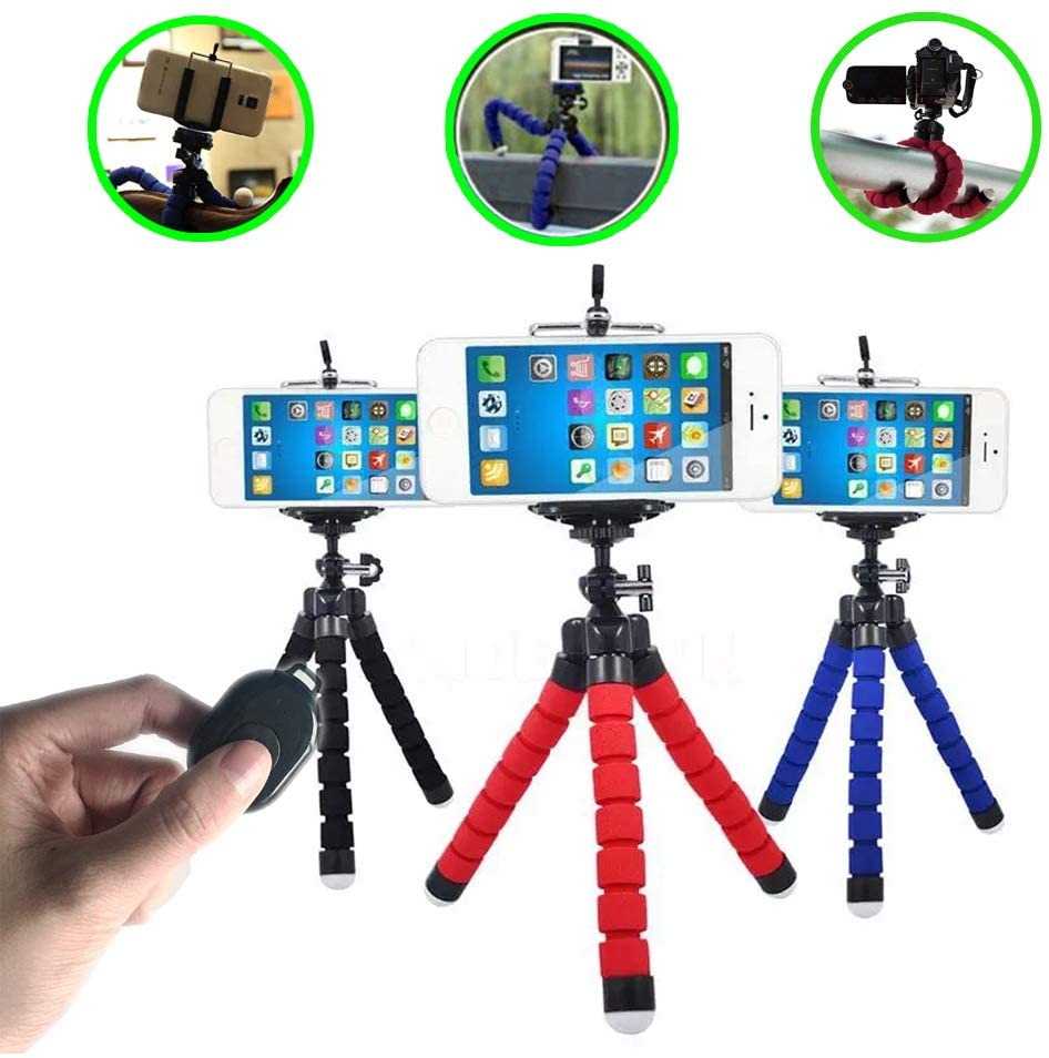 SelfieCom Portable Tripod Phone Holder&Bluetooth Remote Shutter Suit,Flexible Octopus Tripod Stand for Gopro Digital Cameras iPhone X/iPhone 8/8 Plus/iPhone 7/iPhone 7 Plus/Huawei/Samsung/Google