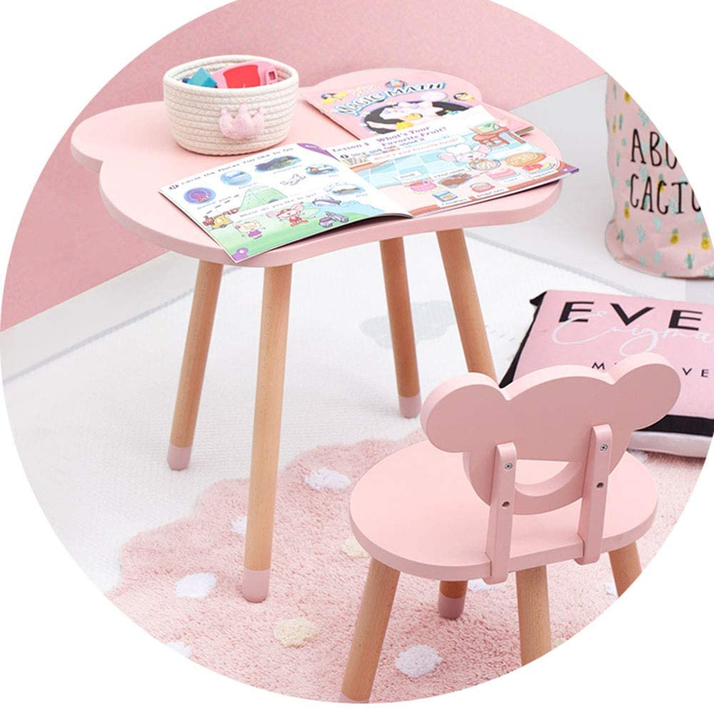 SSHHM Kids Table Chair Set,Cute Cartoon Style, Early Education Table,Solid Wood Furniture,Nursery Home Durable/Pink/Table +Chair