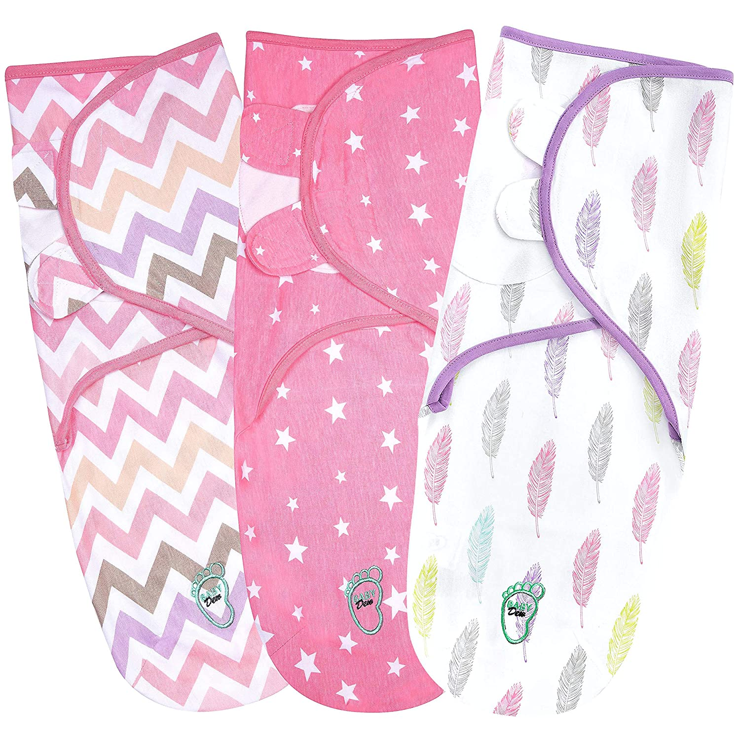 Baby Swaddle Blanket Wrap for Newborn & Infant, 0-3 Month Swaddlers Sack with Adjustable Wings, 3 Pack Breathable Sleep Wrap Sack for Girls (Pink)