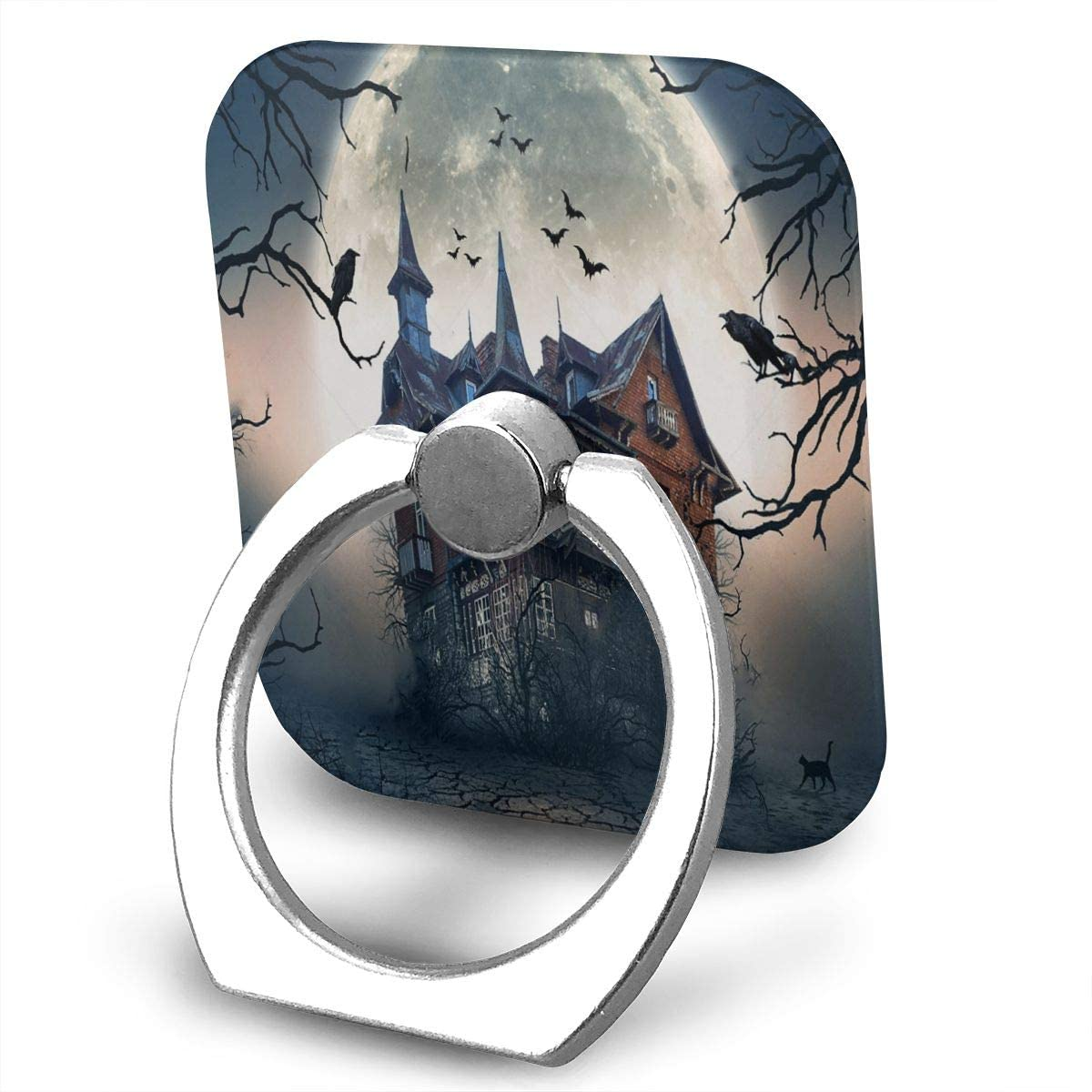 SLHFPX Universal Phone Ring Holder Haunted House with Dark Horror Atmosphere Adjustable 360°Rotation Square Finger Grip Loop Cell Phone Stand for Phone X/6/6s/7/8/8/10/11 Plus Smartphone Android