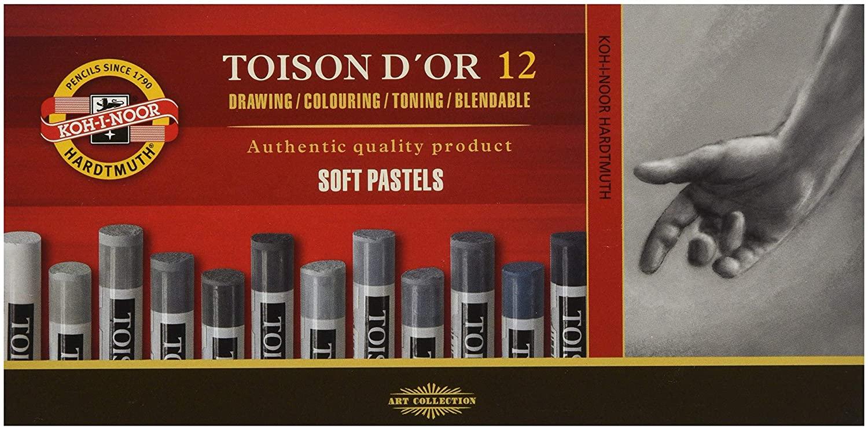 KOH-I-NOOR TOISON DOR 8522 Artists Soft Pastels - Grey (Pack of 12)