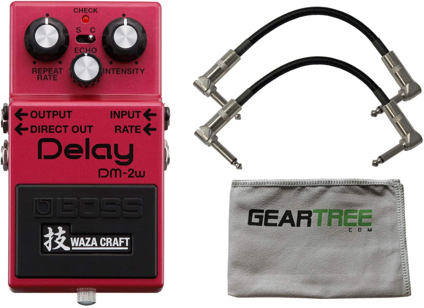 Boss DM-2W Waza Craft Analog Delay Effect Pedal w/ 2 Patch Cables and Cloth