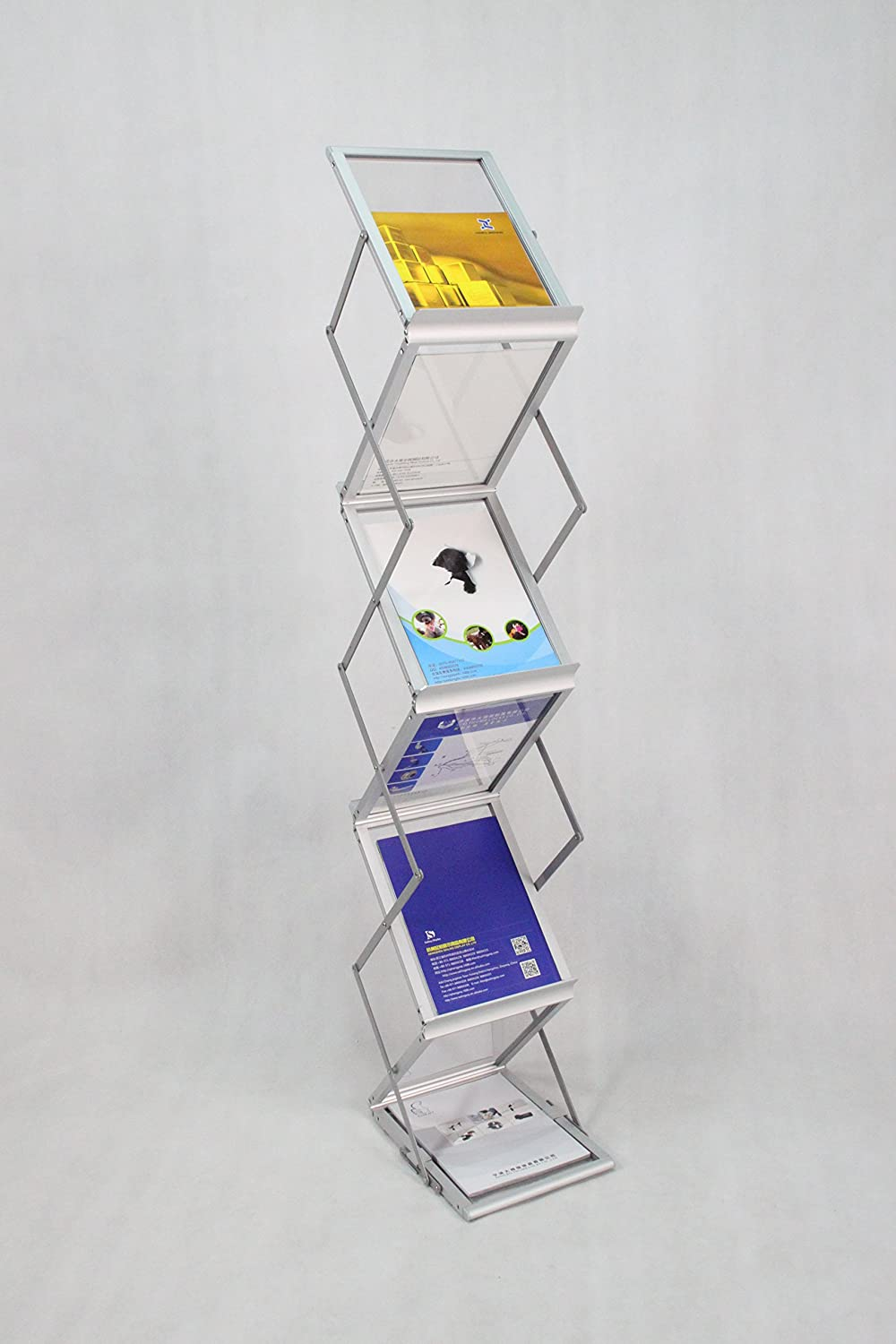 FixtureDisplays 6-Pocket Portable Literature Stand with Case, 2-Sided Silver 120033!