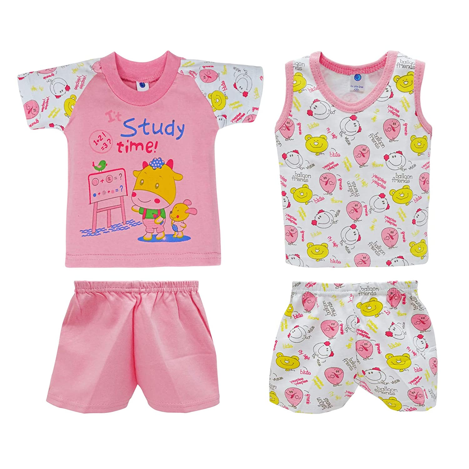 Peegli Baby Boy Girl Outfits Pink Summer T-Shirt Vest Tops + Shorts Pants Baby Toddler Clothes 4 Pcs 0-3 Months