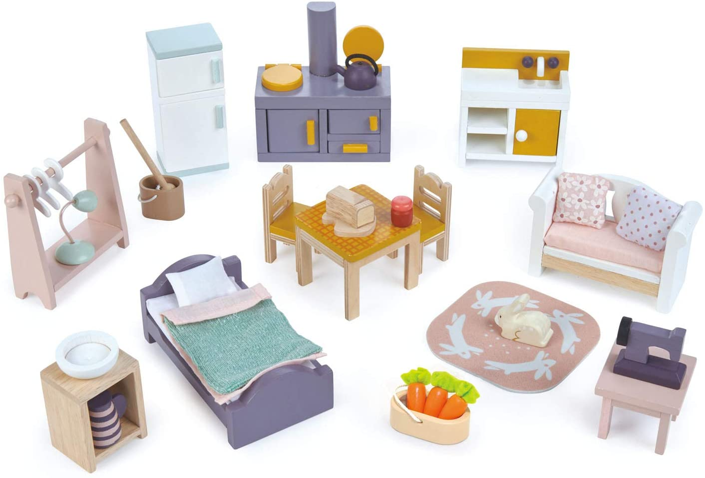 Tender Leaf Toys - Cottontail Cottage Starter Furniture Set - Detailed Ultra Stylish Wooden Furniture Sets and Room Decor - Encourage Creative and Imaginative Fun Play for Children 3+