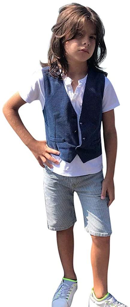 Jumaocio Childrens Wear Toddler Kids Baby Boys Outfits Clothes T-Shirt+Waistcoat+Shorts Gentleman Set (90-130)