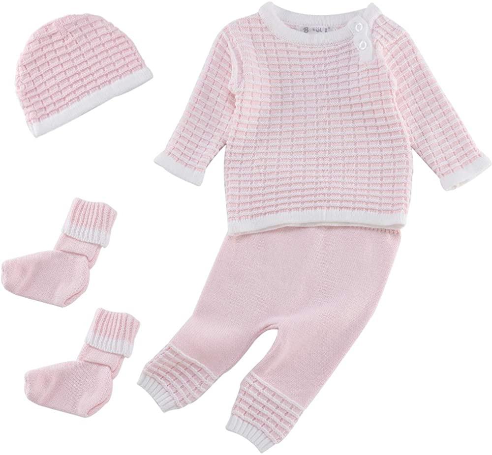 Booulfi Baby Boy's/Girl's Unisex Warm Winter Suit Newborn Cotton Yarn Knitted Sweater Cream/Pink/Blue
