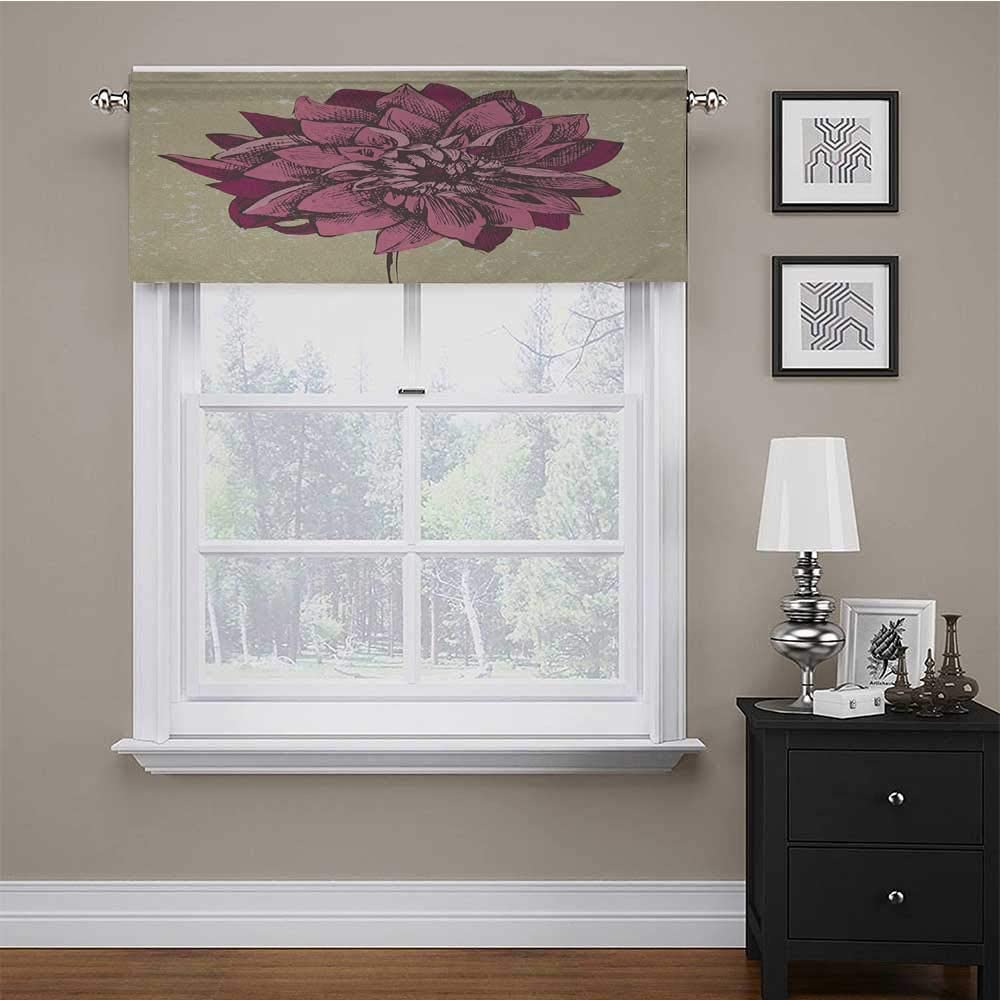 carmaxs Window Valances Boho for Kids Room/Baby Nursery/Dormitory Vintage Dahlia Flower with Murky Grunge Featured Background Growth Bohemian Pattern 42 x 18 Purple Khaki