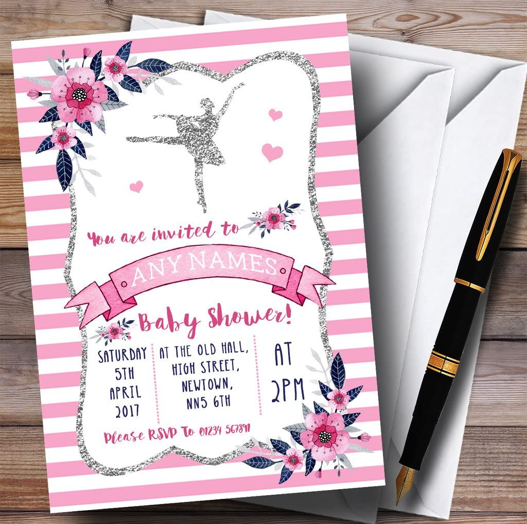 Silver & Pink Ballerina Ballet Invitations Baby Shower Invitations