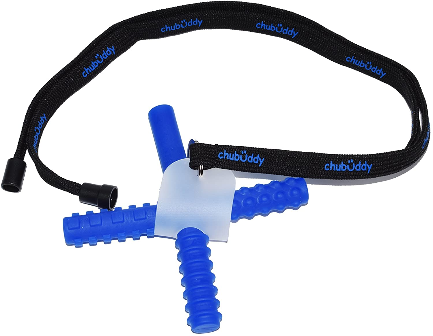 chubuddy Chewy Holder with Blue Chew Stixx* Included *Chew Stixx is a Registered Mark of The Sensory University (Black Neck Lanyard Screen Print)