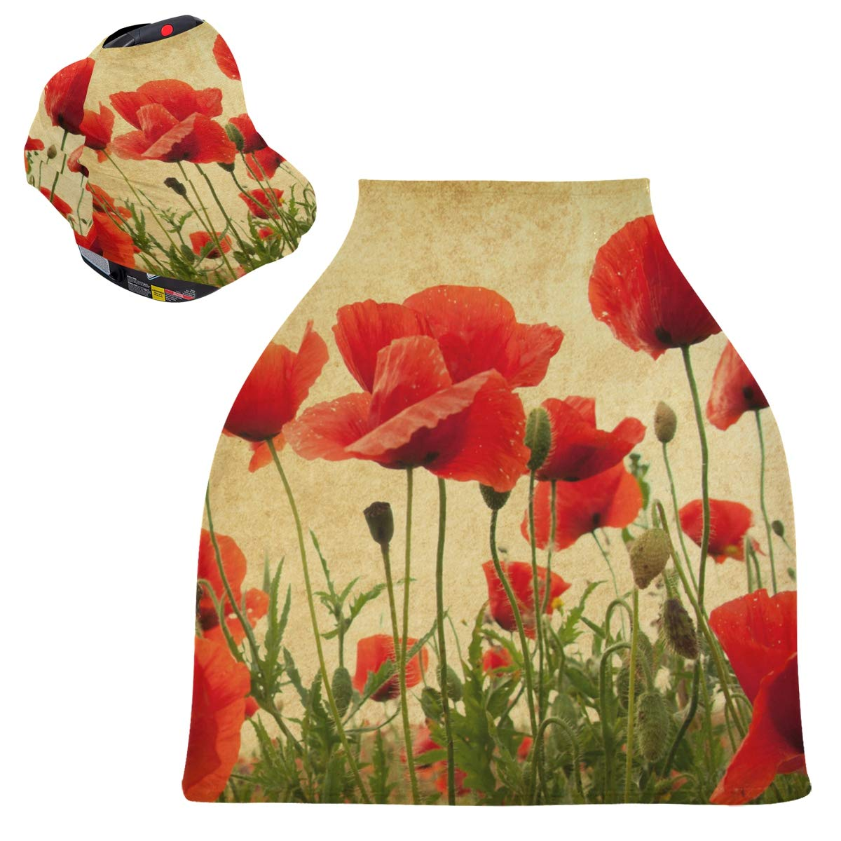 Stretchy Baby Car Seat Canopy - Vintage Poppies Flowers Infant Stroller Cover Multi Use Carseat Scarf Nursing Cover for Baby Boy and Girl