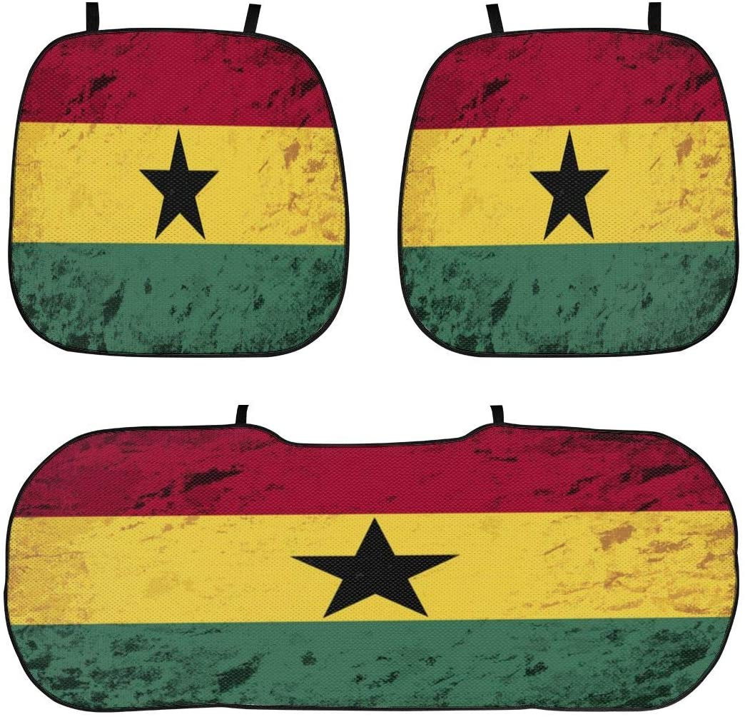 Retro Grunge Ghana Flag Car Seat Cushion Comfort Universal Car Seat Cover Non Slip Premium Seat Pad Scratch Proof Auto Seat Protector 4 Seasons 3-Piece Cushion Sets for Car Seat Home Office Chair