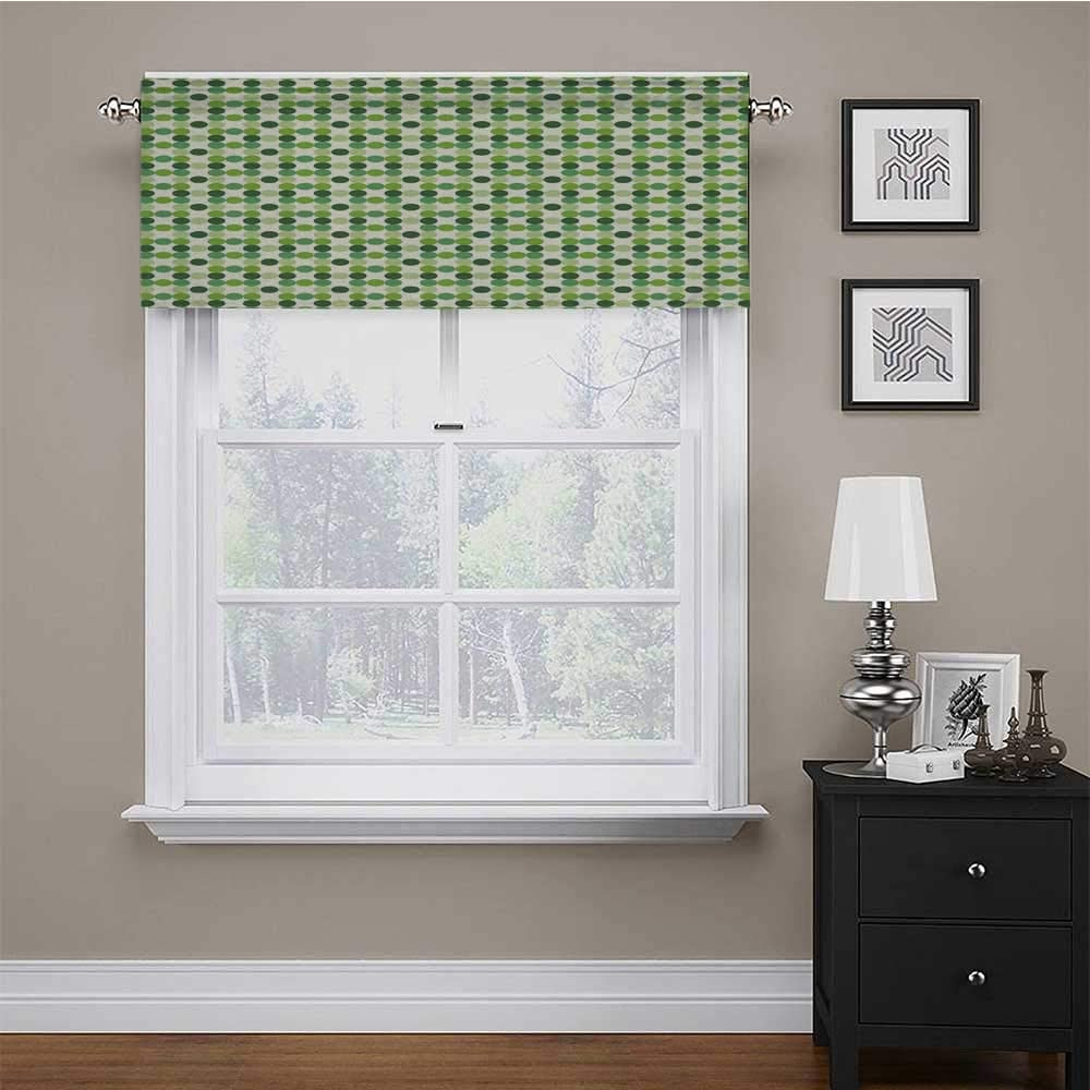 Adorise Valance Curtain Circles of Various Tones Shades and Tints of Green Retro Style Geometrical Pattern Tailored Valance/Swags for Kids Girl Baby Nursery Bedroom Green Cream 56 x 16 Inch