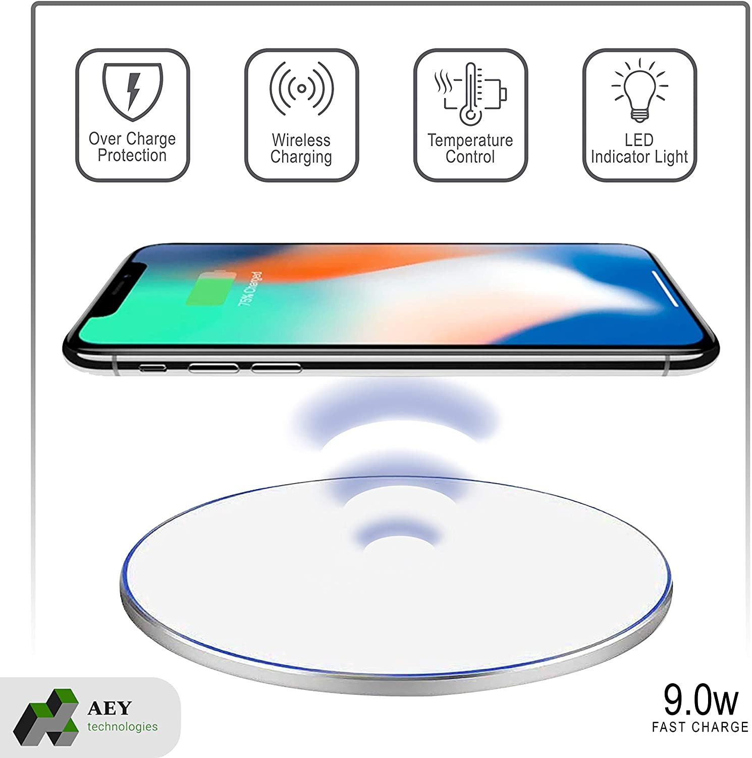 Phone Wireless Charger, White,QI Certified, Case Friendly. Compatible with Samsung Galaxy10 / S10 / S20 iPhone 11/11 Pro / 11 Pro Max, XS/XS Max/X / 8
