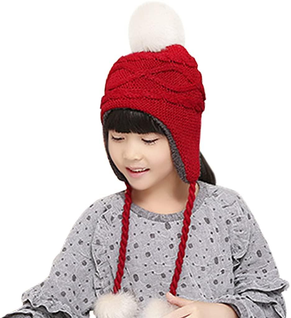 Holiberty Toddler Kids Winter Earflap Beanie Hat Boy Girl Fur Pompom Fleece Lined Knit Hat