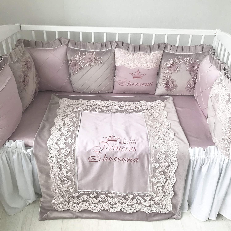 Flower Heaven Baby Bedding Crib Set, Custom Luxury Nursery Bedding, Sheet Pillow Bumper Quilt