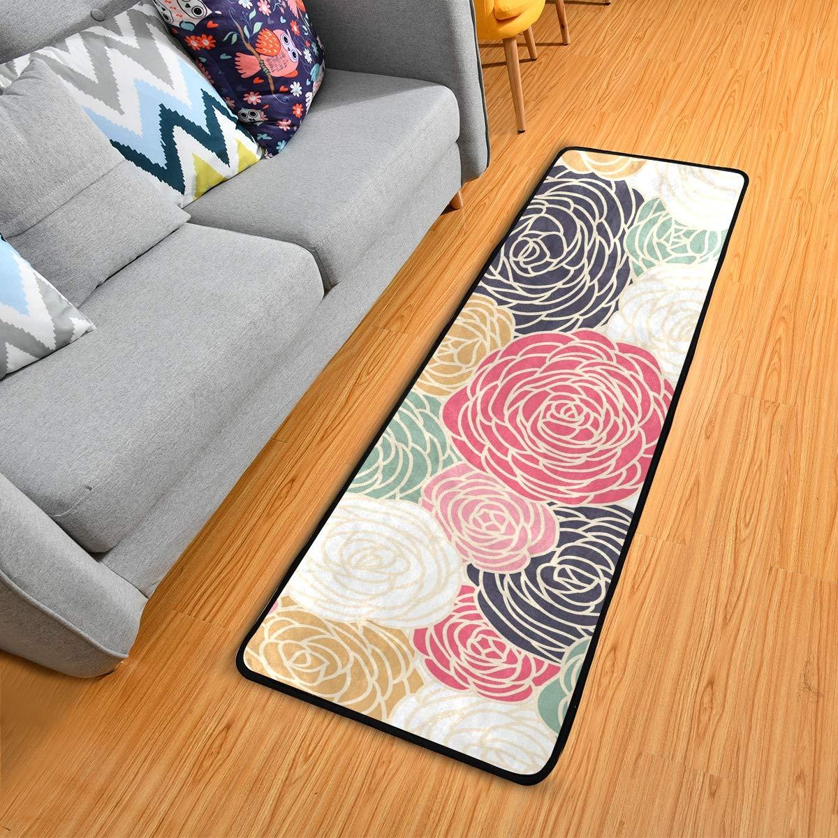 Hallway Runner Rug Rubber Backing - Vintage Rose Runner Rug for Kitchen Rug Carpet Runner Non Skid Washable Rug Runner 2x6