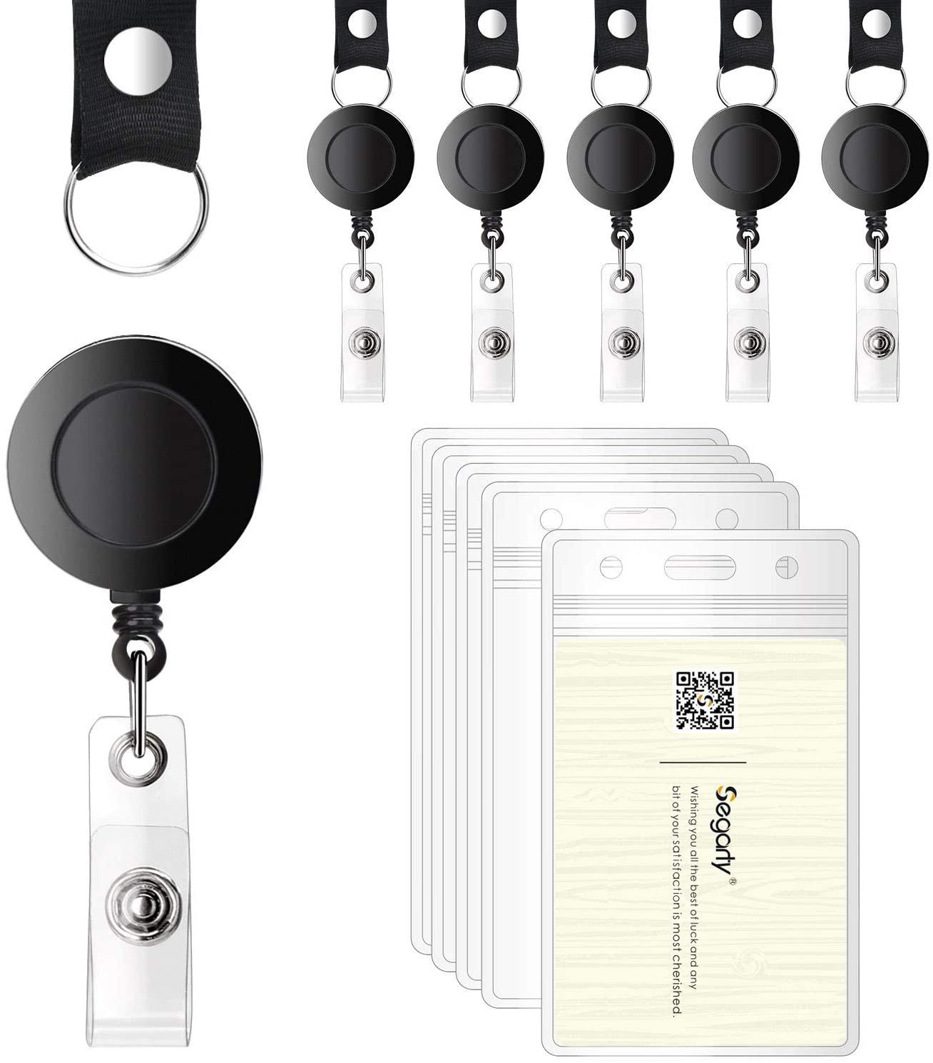 20 Pack Retractable Reel ID Badge Card Holder, Segarty Horizontal ID Pass Holder with Lanyard Bulk Kit, 30-inch Nylon Badge Reel Cord, Metal Belt Clip, with Heavy Duty Plastic Name Badge Holders