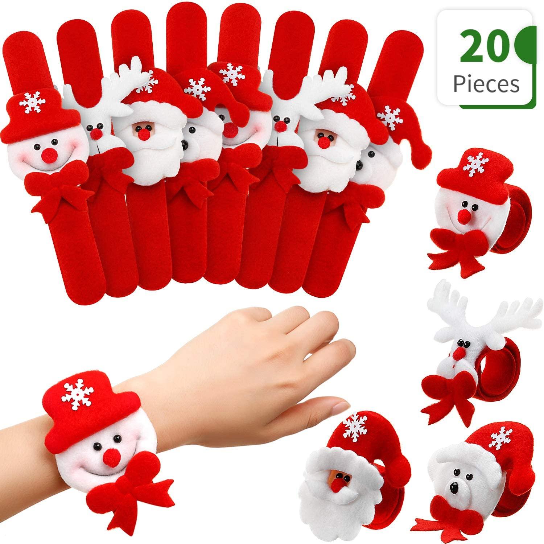 20 Pieces Christmas Slap Bracelets Christmas Snap Bracelet Party Favors Xmas Slap Bands Include Santa Claus Snowman Reindeer Bear Christmas Decorations for Girls and Boys