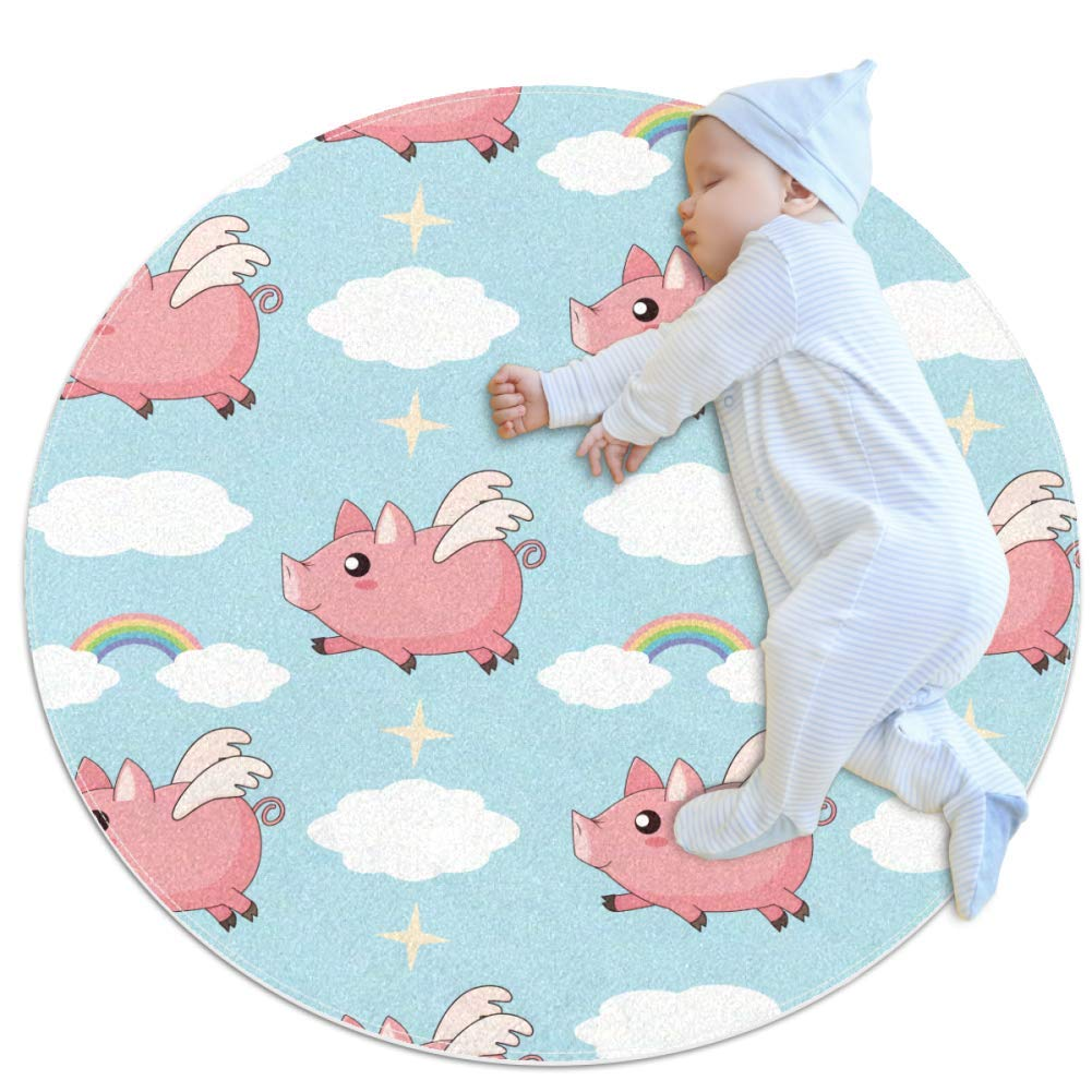 Nursery Area Rug Flying Pink Pig Play Mat Anti-Slip Baby Rug Soft for Baby Boys Girls 39.4x39.4in