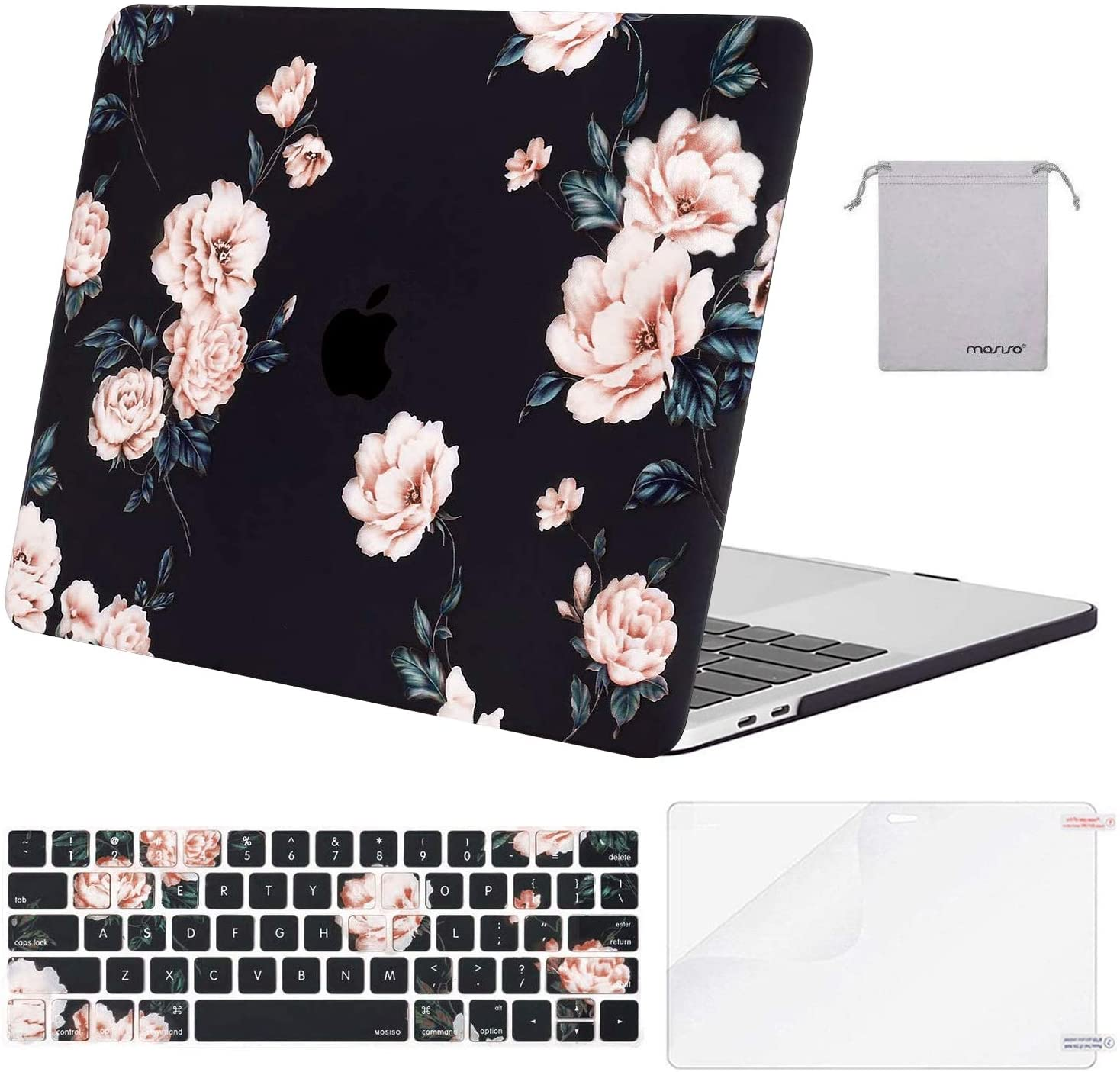MOSISO Compatible with MacBook Pro 13 inch Case 2019 2018 2017 2016 Release A2159 A1989 A1706 A1708, Plastic Camellia Hard Shell Case&Keyboard Cover Skin&Screen Protector&Storage Bag, Black