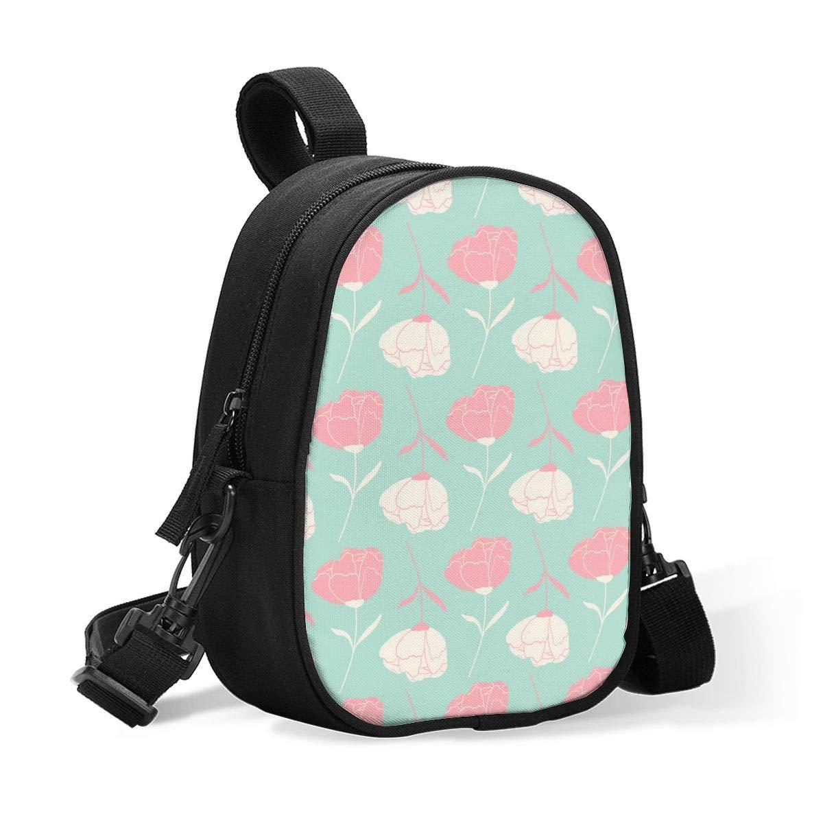 Breastmilk Cooler Bag Insulated Baby Bottle Bag Pink and White Floral Rose Flowers Reusable Baby Bottle Warmer Tote Bag Handbag Lunch Bag Box for 2 Large Bottles for Nursing Mom, Stroller