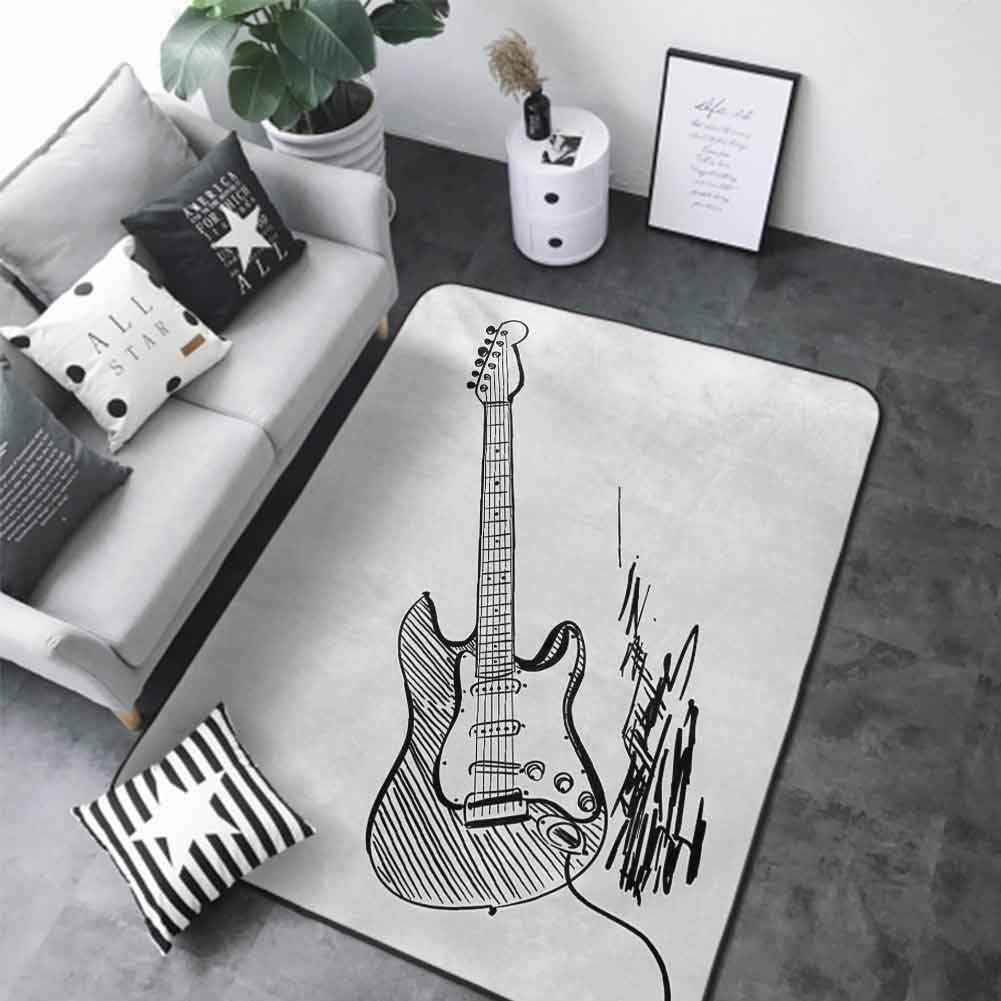 Non-Slip Bath Hotel Mats Guitar,Hand Drawn Style Electric Guitar on White Backdrop Rock Music Accords Sketch Art,Black White 48