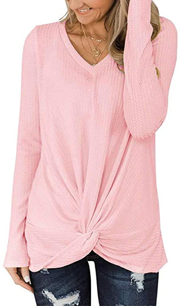 Baiggooswt Womens Casual Autumn V Neck Long Sleeve Twist Knot Solid Daily Knit Tunic Blouse Elegent Shirts Tops