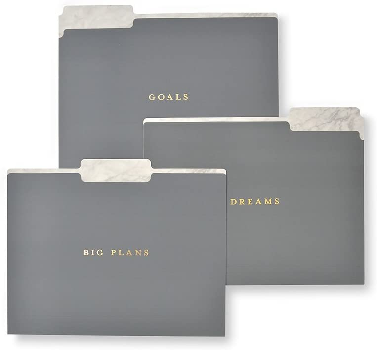 Gartner Studios Marble And Gold Foil Soft Touch File Folders, 6 count
