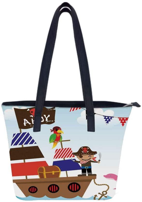 Ahoy Its Cute Chest Women Leather Laptop Tote Office Shoulder Handbag Computer Briefcase