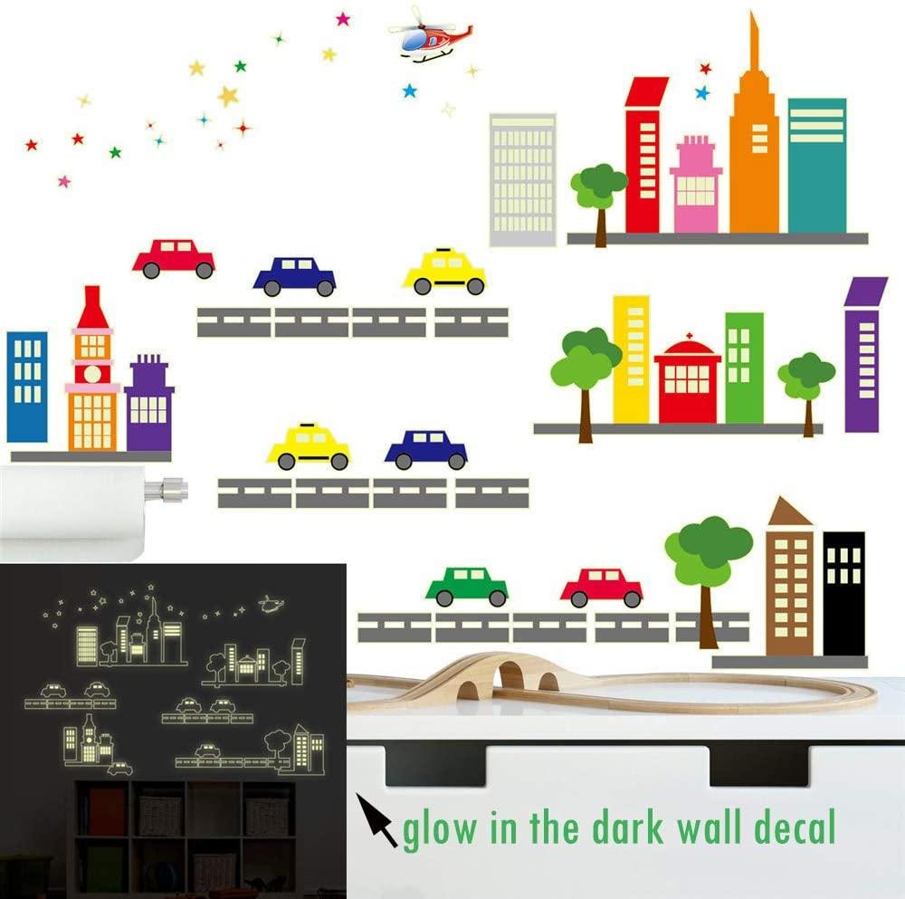 ufengke Glow in The Dark Cityscape Wall Stickers Cars Buildings Wall Decals Luminous Art Decor for Kids Bedroom Nursery DIY