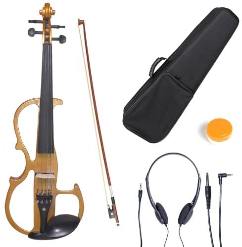 Cecilio L4/4CEVN-L2Y Left-Handed Solid Wood Yellow Maple Metallic Electric Violin with Ebony Fittings in Style 2 (Full Size)