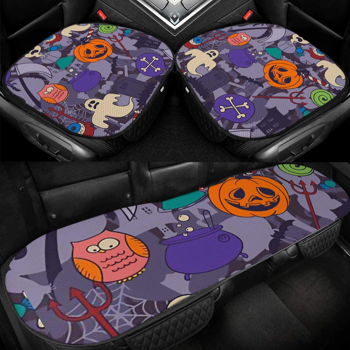 Car Seat Cushions Pumpkins Halloween Chair Protector for SUV Anti-Slip 3 Pack Bottom Pad Fall Vehicle Universal Cover Front Rear Seats Mat