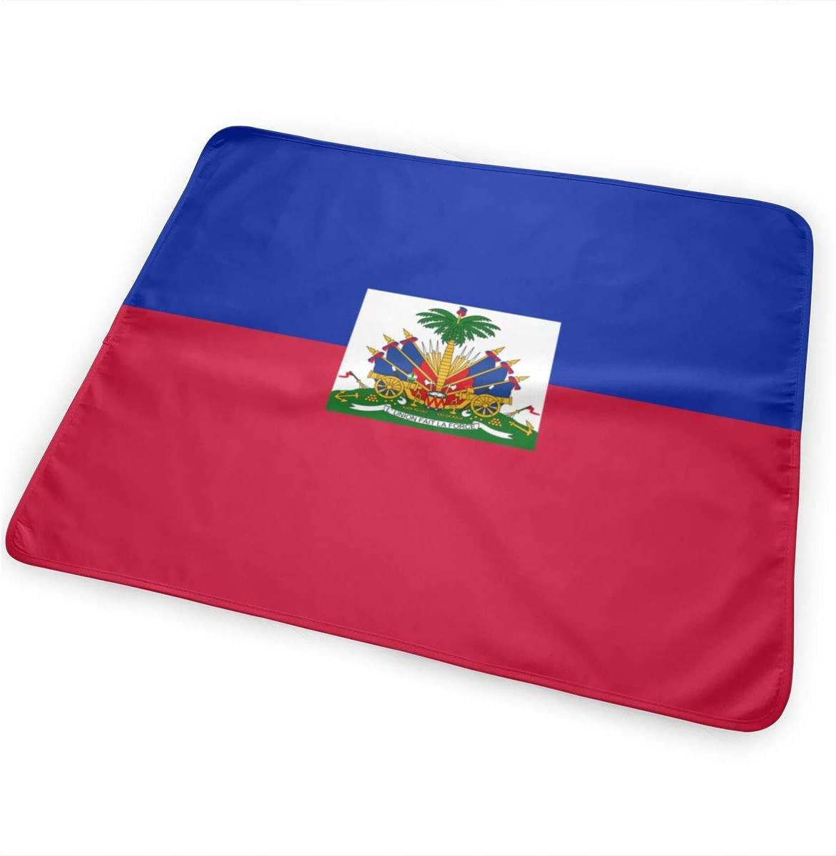 Haiti Flag Breathable Urine Mat Waterproof Changing Pad for Baby Washable Mattress Pad Sheet Protector