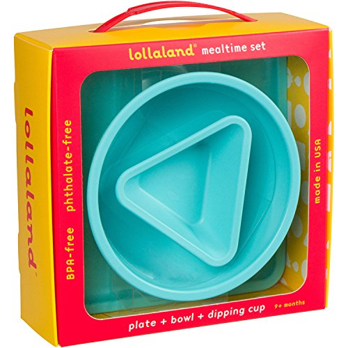 Lollaland Kids Dinnerware (Turquoise) 3-Piece Feeding Plate, Bowl, Dip Cup Made in USA - Microwave, Dishwasher Safe, BPA, Melamine, Free Plates Bowls Gift Set for Baby Infant Toddler Kids