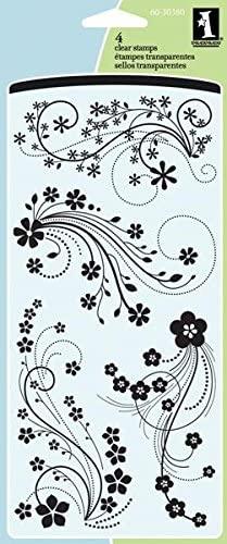 Inkadinkado Flower Flourish Clear Stamp Set, 4'' x 8''