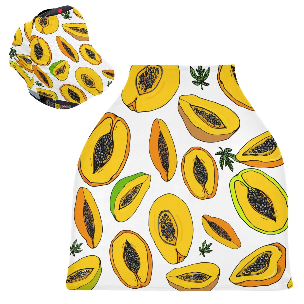 Stretchy Baby Car Seat Canopy - Tropical Fruit Papaya Infant Stroller Cover Multi Use Carseat Canopy Nursing Cover for Girl