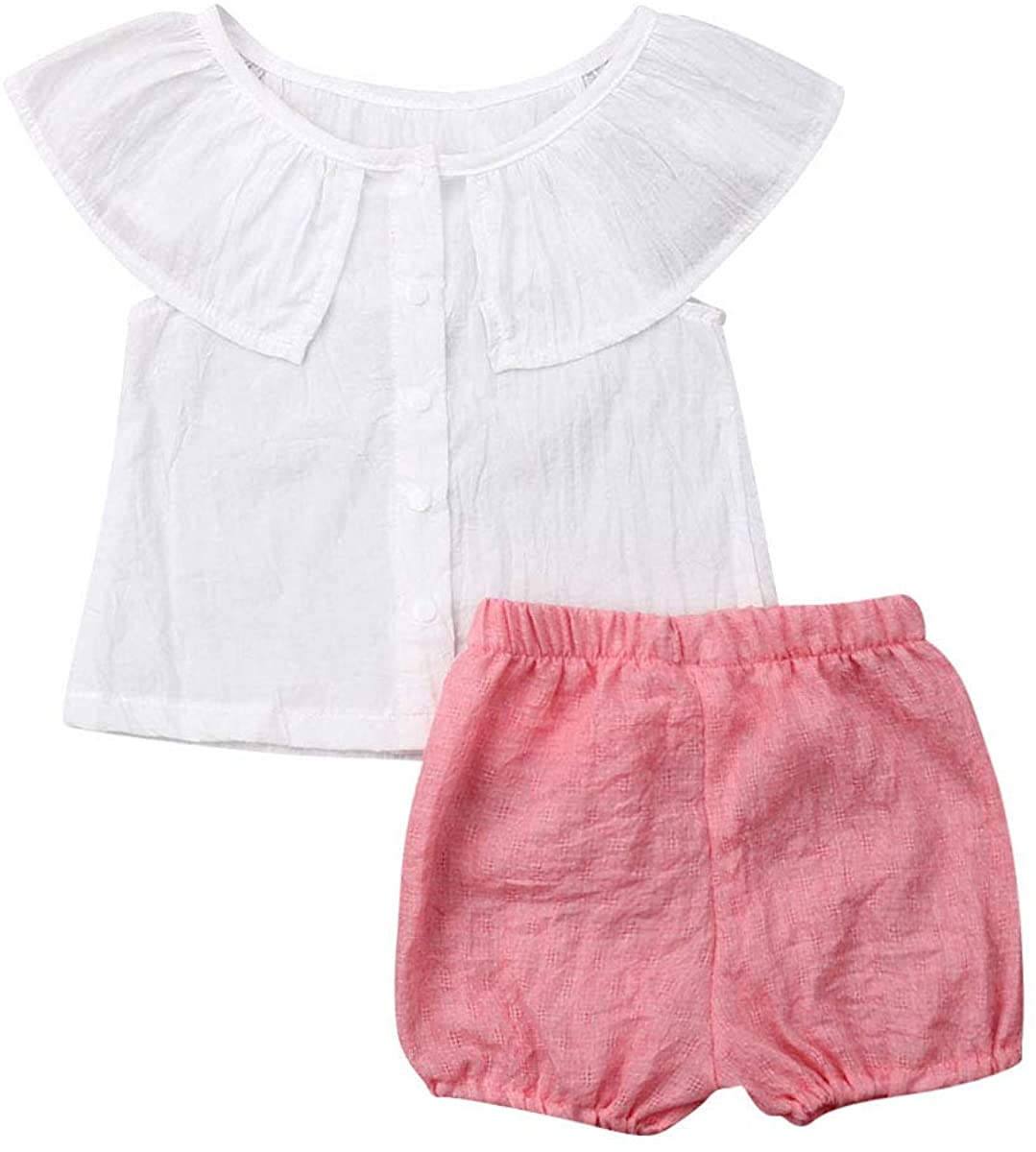 2PCS Baby Girls Cotton Linen Button Down Ruffled Shirts Tops + Solid Shorts Infant Baby Girls Outfits