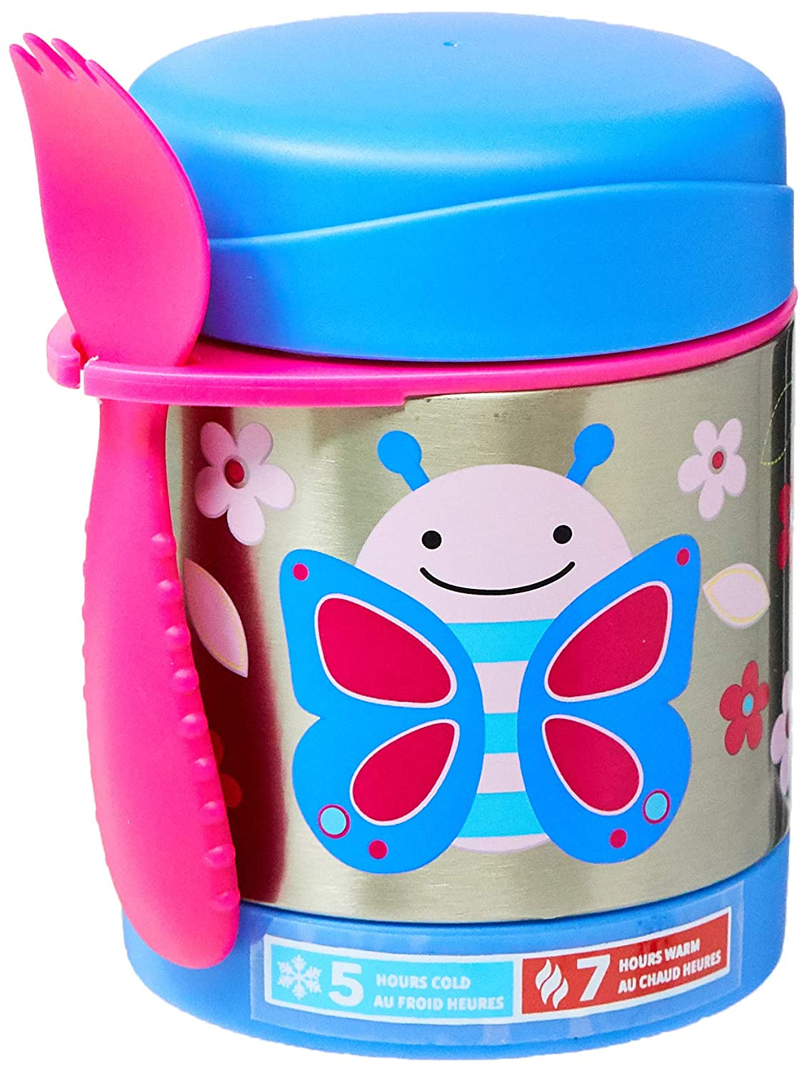 Skip Hop Baby Zoo Little Kid and Toddler Blossom Butterfly Insulated Food Jar and Spork Set, Multi, 11 fl oz