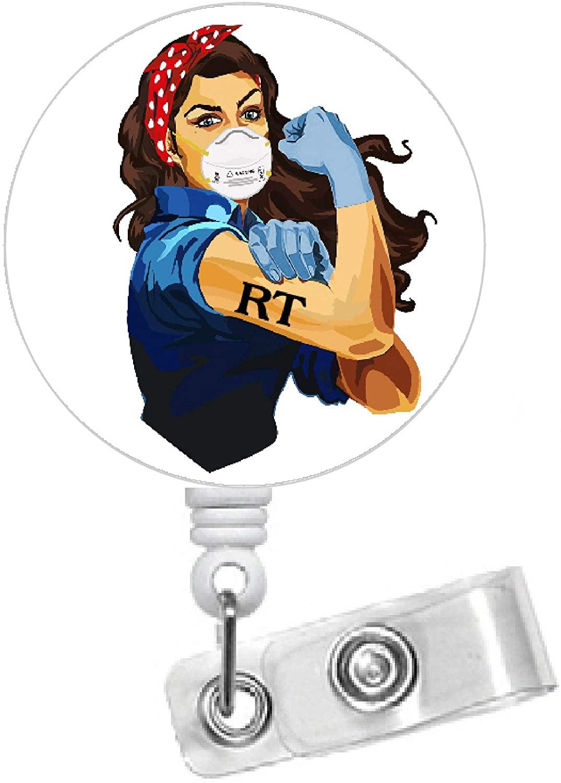 Rosie The Riveter RT Black Hair 1.5 - Respiratory Therapist Badge Holder - RT Badge Reel - Name Badge - Medical Badge - Cute Id Badge Reel (Belt Slide Clip) (Alligator Swivel Clip)